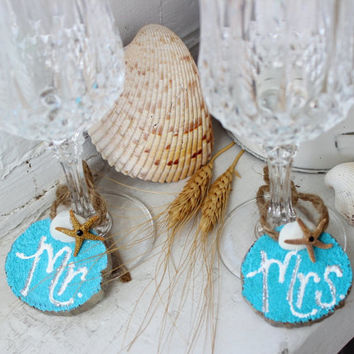 Turquoise Mr & Mrs Wine Glass Charms , Beach Theme Wedding Decoration , Nautical Head Table and Coastal Reception Decor