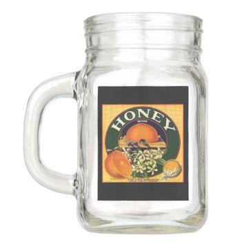 Vintage honey company advertisement mason jar gla
