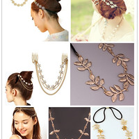 Fashion Hot Gold Plated Rose Flower Hair Head Band Leaf Tassels Headband Headwear Accessories Women Headwear