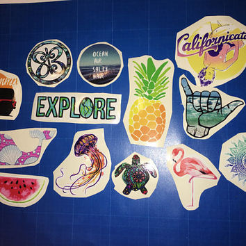 Summer travel vinyl stickers pack tumblr medusa ocean explore flamingo dweller turtle