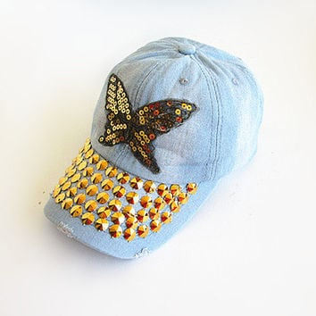Butterfly Baseball Cap-Unisex Cap-Baseball Cap-Fashion Cap-Steam Punk Cap-Denim Cap.