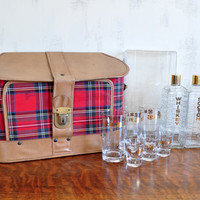 Vintage Portable Bar with Plaid Bag, Whiskey and Scotch Decanters, Glasses and Shot Glasses, Karoff Travel Bar