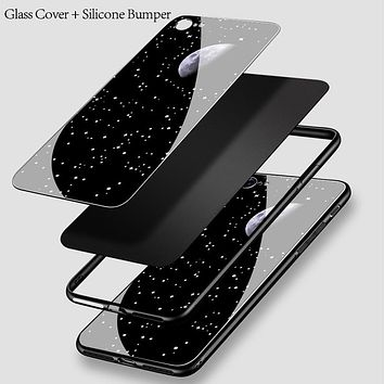 Glass Back Space Case for iPhone X, 8, 8 Plus, 7, 7Plus and 6s Plus