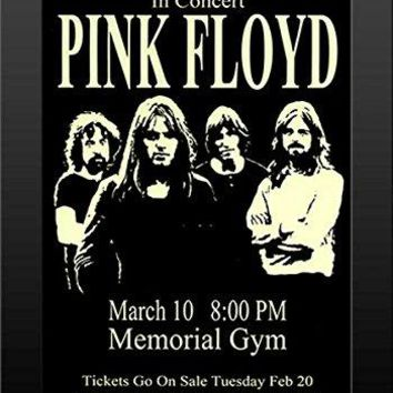 Pink Floyd - Live 1973 Retro Art Print — FRAMED — Print of Retro Concert Poster — Features Nick Mason, Roger Waters, Richard Wright, Syd Barrett and David Gilmour.
