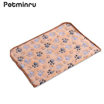 Petminru 40 x 60cm Cute Floral Pet Sleep Warm Paw Print Dog Cat Mat Puppy Fleece Soft Blanket Beds Mat 3 Color