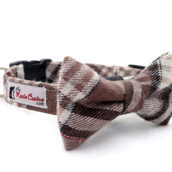 Brown, Black & Tan Flannel Plaid Dog Collar (Collar Only - Matching Bow Tie Available Separately for Wedding or Special Occasion)