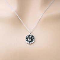 Rose, Romantic, Belle, Gold, Silver, Necklace, Flower, Necklace, Simple, Antique, Vintage, Style, Minimal, Dainty, Gift, Jewelry