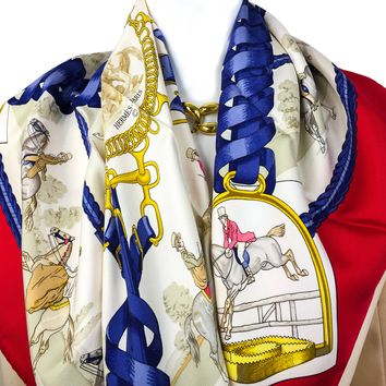 Hermes Silk Scarf Les Allures du Cheval Early Issue RARE