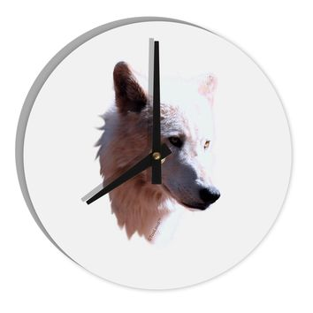 "Magnificent White Wolf Head 8"" Round Wall Clock"