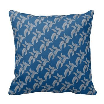 Sketched Feathers Blue Print Pillow