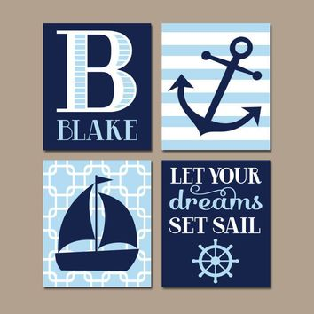 Boy Nautical Nursery Wall Art, NAUTICAL Decor, Coastal Quote, CANVAS or Print, Dreams Set Sail, Sailboat Anchor Pictures, Set of 4 Pictures