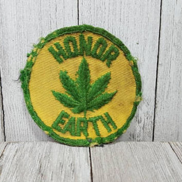 "Honor Earth, vintage patch, 2+3/4"", marijuana, peace, 1960s, 60s, used"