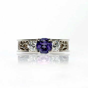 Purple spinel and diamond filigree trinity ring, white gold, yellow gold, engagement ring, spinel engagement, wedding, filigree,  purple