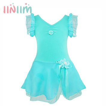 2018 iiniim Cute Girl Ballet Floral Dress Leotard Bow Tutu Dress Teenager Kids Clothes Ballerina Costume New Years Gift 12Years