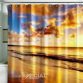 Bath Shower Curtain sunset sandy beach nature beach