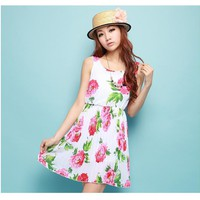 Peony flower halter sleeveless chiffon dress | fashion4us