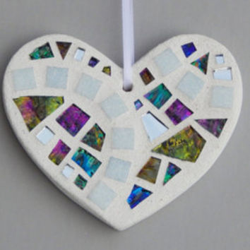 Mosaic Ornament, Heart, White + Textured Iridescent Glass + Silver Mirror, Handmade Stained Glass Mosaic Heart Ornament