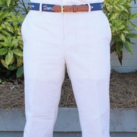 Elliewood Plain-front Pant in Tan Seersucker by Country Club Prep