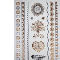 Hot Jewelry Inspired Gold and Silver Flash Temporary Tattoos