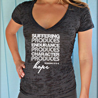 Christian Womens Workout Vneck Tee. Romans 5: 3-4 Suffering Produces Hope Bible Verse Workout Jesus T Shirt.