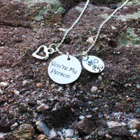 """Personalized """"You're My Person"""" Necklace - """"You're My Person"""" Charm Necklace - Personalized Handstamped Engraved Necklace"""
