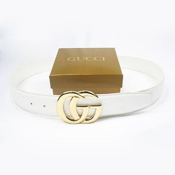 GUCCI Men Woman Fashion Smooth Buckle Belt Leather Belt-167