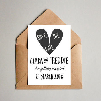 Save the date download,  Printable Save the date, black and white wedding,  Wedding stationary, DIY, Printable Wedding,  informal Wedding