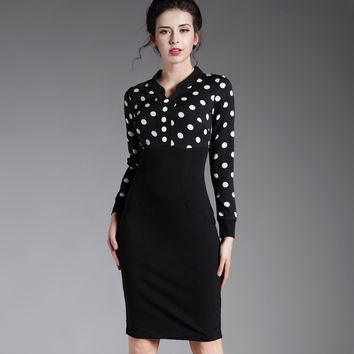 Bodycon Pencil patchwork casual work business long sleeve women midi dress