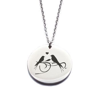 Custom Engraved Stainless Steel Birds Necklace