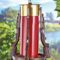 Shotgun Shell Bird Feeder Spring Summer Yard Hanging Outdoorsman Hunter Decor