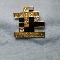 Crossword Puzzle with Rhinestone Gold Tone Brooch / Pin