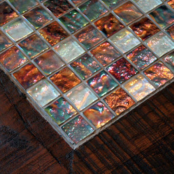 Glass Mosaic Coffee Table Oceans on Fire by natureinspiredcrafts