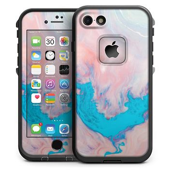 Marbleized Pink and Blue Paradise V322 - iPhone 7 LifeProof Fre Case Skin Kit