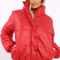 RED SHINY PUFFER COAT - PENNY