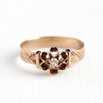 Edwardian Diamond Ring - Antique 10k Rosy Yellow Gold Single Cut Solitaire - Vintage 1900s Buttercup Size 6 3/4 Engagement Etch Fine Jewelry