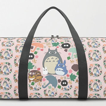 Totoro DUFFEL BAG Ghibli Duffle Gym Travel Suitcase Pink Pastel Woodland Forest Chibi Catbus Soot Sprite Anime Movie Children Kid Cute Fun
