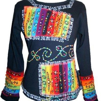 Hand Brush Painted Rainbow Funky Gypsy Knit Cotton Blouse