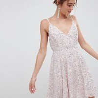 ASOS DESIGN delicate sequin plunge mini dress with full skirt at asos.com