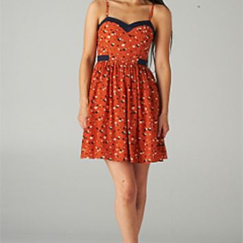 Cupid's Smile Sweetheart Heart Print Dress in Rust/Navy by Minuet | Sincerely Sweet Boutique