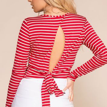 Penelope Red Stripe Open Back Crop Top
