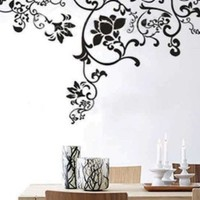 "X Large Contemporary Black Floral Flowers Design 63"" Inches - More than 5 Feet Wall Sticker Decal"