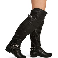 Black Studded Ankle Tall Boot