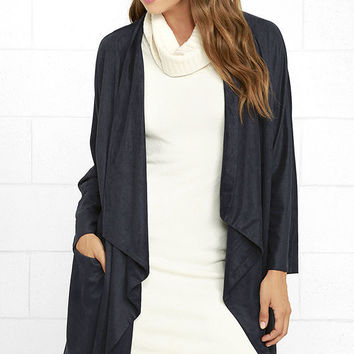 Dream Day Navy Blue Suede Jacket