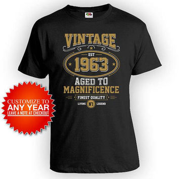 Personalized Birthday Shirt 55th Birthday Gift Ideas For Him Bday Present For Her Custom Year Vintage 1963 Birthday Mens Ladies Tee - BG605