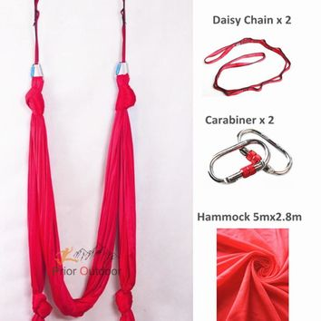 Aerial Yoga Hammock set  Yoga Sling 100% Nylon Sling Yoga + daisy chain and carabiners Quality guarantee  antigraviti YOGA