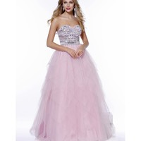 Preorder Baby Pink Embellished Strapless Tulle Ball Gown 2016 Prom Dresses