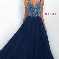 Long Classic Chiffon V-Neck Blush Prom Dress