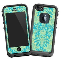 "Vintage Blue Green Damask ""Protective Decal Skin"" for LifeProof fre iPhone 5/5s Case"