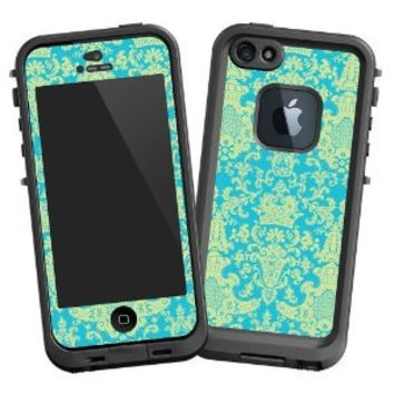 """Vintage Blue Green Damask """"Protective Decal Skin"""" for LifeProof fre iPhone 5/5s Case"""