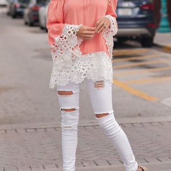 Pink Lace Cut Out Off Shoulder Sweet Going out Chiffon Blouse